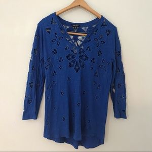 Lucky Brand Embroidered High Low Tunic (M)